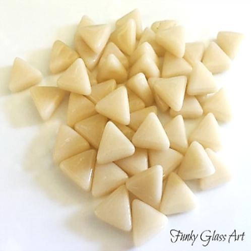 Glass Triangles 10mm - Cream