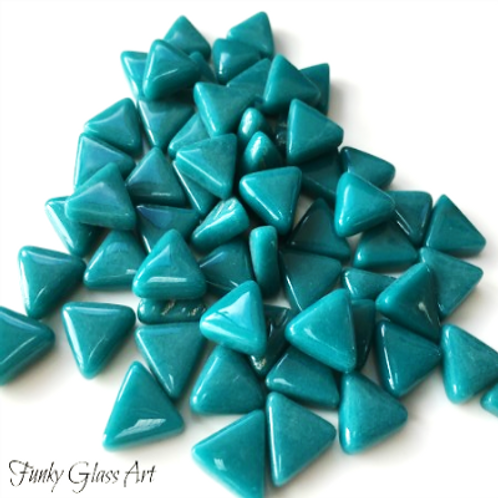 Glass Triangles 10mm - Dark Teal