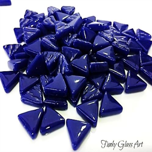 Glass Triangles 10mm - Indigo Blue