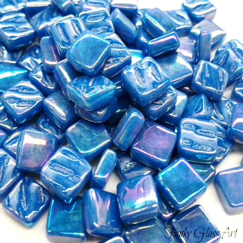 Glass Squares 8x8mm - Pearlised Blue