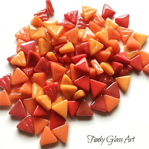 Glass Triangles 10mm - On Fire Mix
