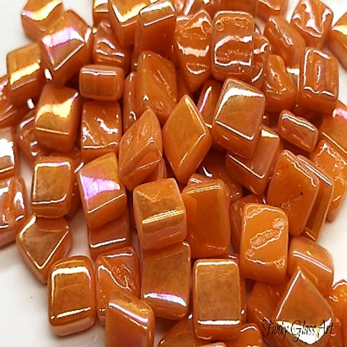 Glass Squares 8x8mm - Pearlised Orange