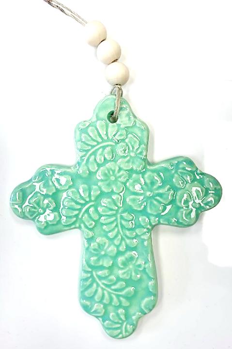 Ceramic Embossed Cross - Sea Green