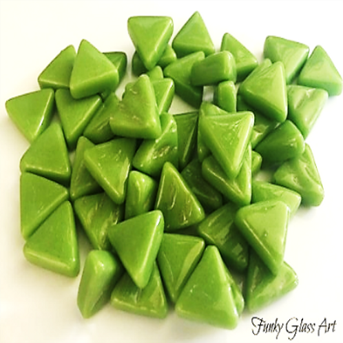 Glass Triangles 10mm - New Green