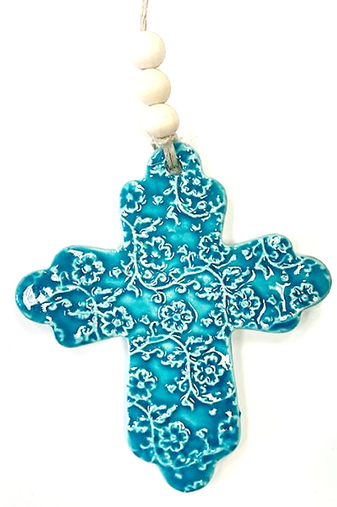Ceramic Embossed Cross - Aqua
