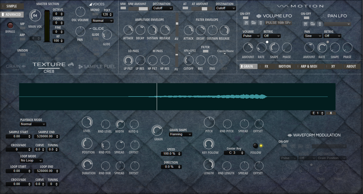 TEXTURE Advanced Page Synth Page