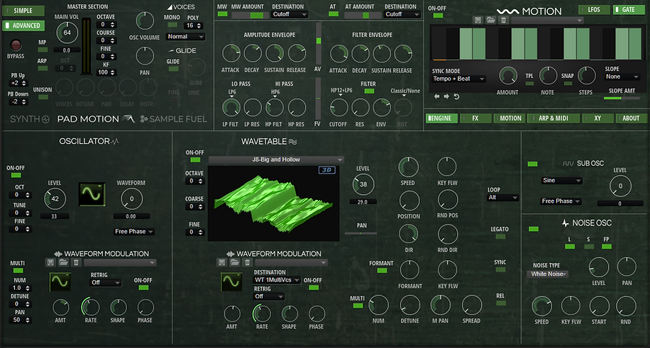 PAD MOTION 3.0 OSCILLATOR-WAVETABLE ADVA