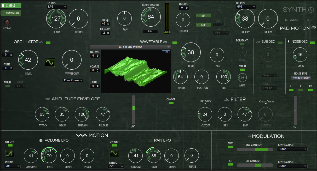 PAD MOTION OSCILLATOR-WAVETABLE SIMPLE P