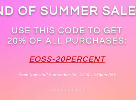 SAMPLE FUEL - OUR 'END OF THE SUMMER' SALE STARTS NOW! 20% OFF EVERYTHING ENDS SEPTEMBER 9th