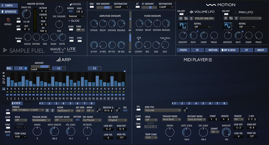WAVE-LITE Advanced Arp & Midi Player Pag