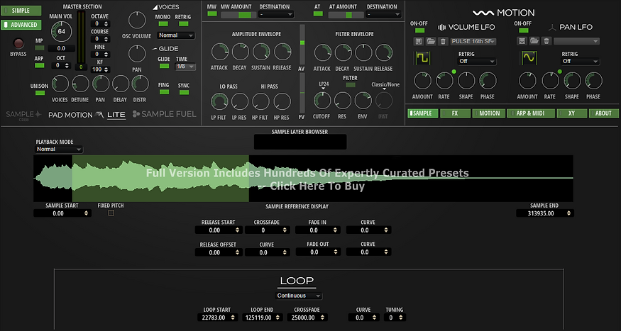 PM Sample-CRE8-LITE Advanced Synth Page.