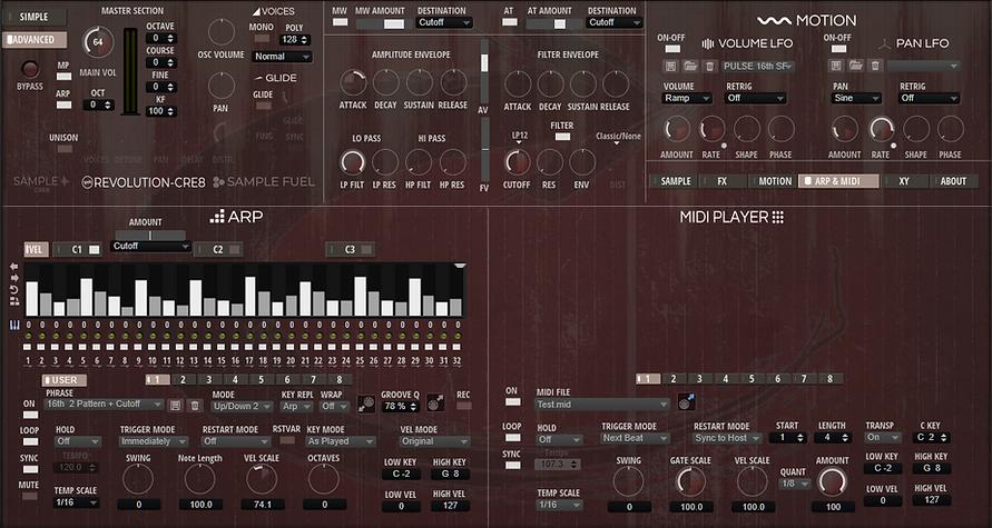 Revolution-CRE8 Advanced Arp & MIDI Page