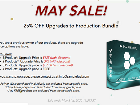SAMPLE FUEL - MAY SALE STARTS NOW!