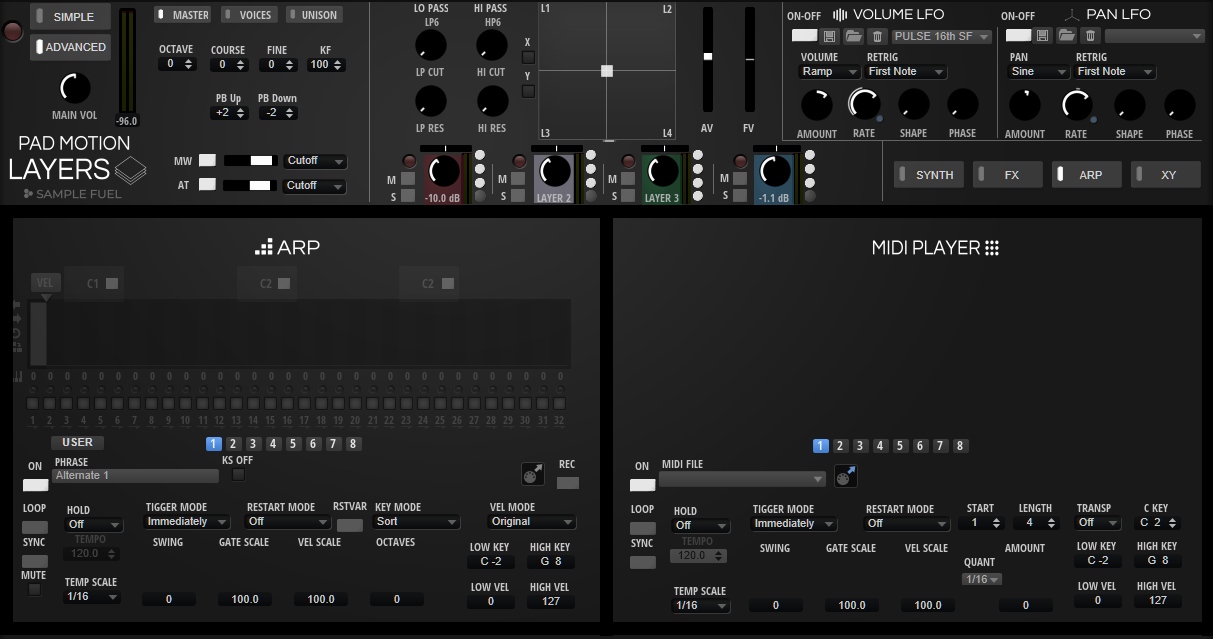 Pad Motion Layers Arp & MIDI PLAYER Sect