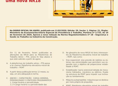 Matéria sobre a nova NR 18 com o especialista e autor de livro sobre Plataforma de Trabalho Aéreo.