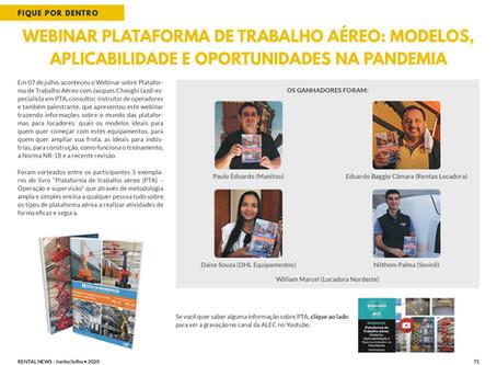 """Sorteio do livro """"PLATAFORMA DE TRABALHO AÉREO - PTA - OPERAÇÃO e SUPERVISÃO no webinar da ALEC"""