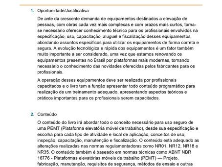 """Projeto do livro """" Plataformas elevatórias móveis de trabalho-PEMT"""" NR 18 e ABNT NBR 16776"""