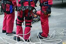 Close -up group of Rescue fireman team w