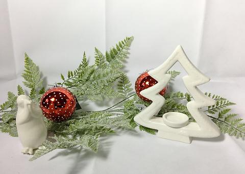 Ceramic Christmas Tree With Snow.White Ceramic Christmas Tree Candle Holder