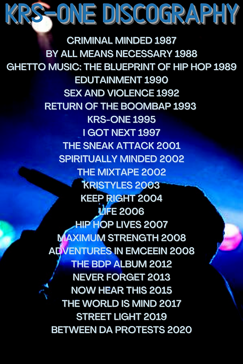 KRS-One Discography Poster BLUE