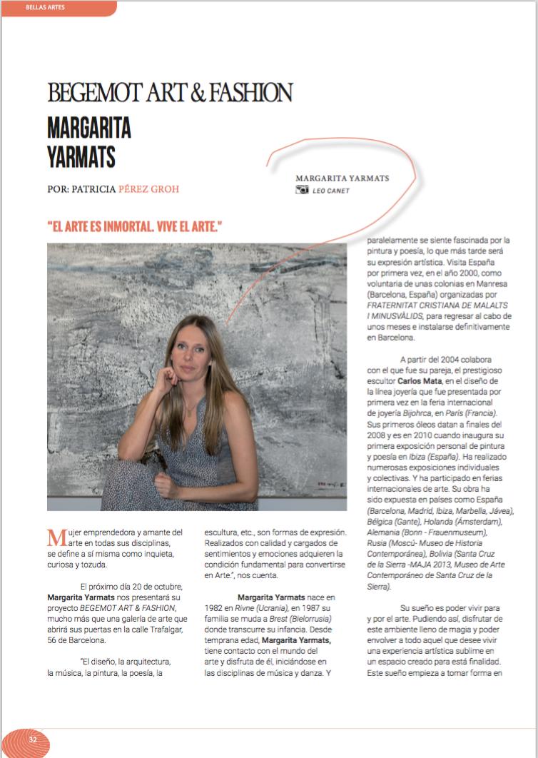 Para ver la entrevista online: http://artepoli.com/margarita-yarmats-begemot-art-fashion/