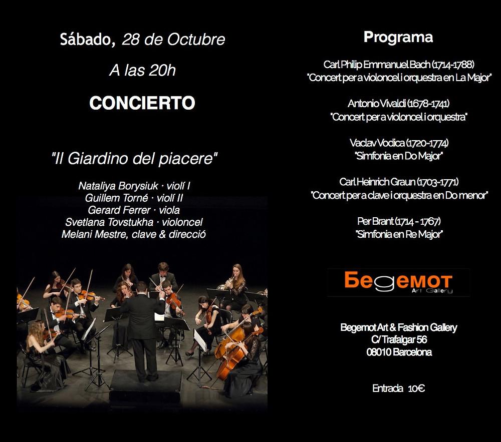 """Esta tarde, 28 de Octubre a las 20h nos vemos en el concierto de quinteto """"Il Giardino del piacere"""" bajo la dirección de Melani Mestre!"""
