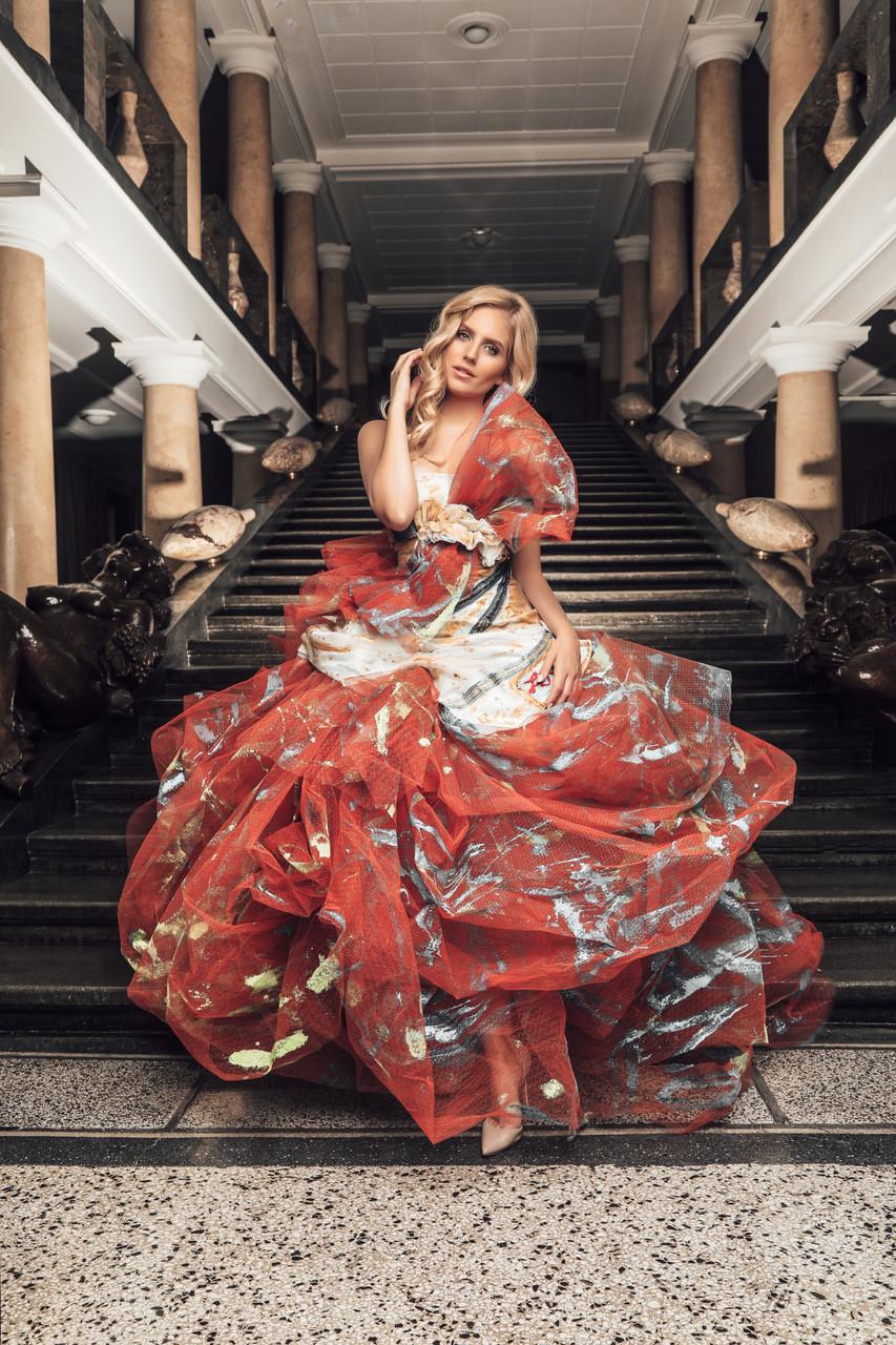 Ada Sitar wearing Miro Misljen's Dress photo by Tibor Glob