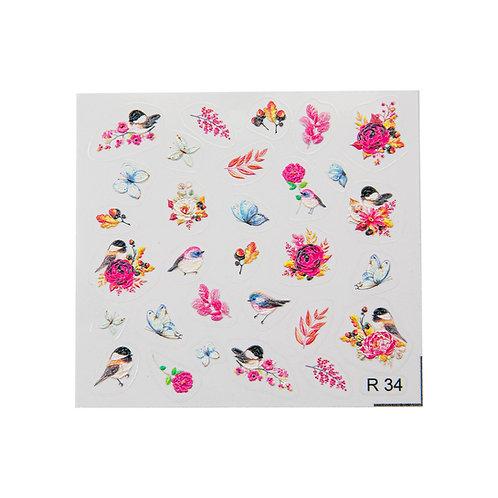 Birds & Flowers R34 3D Sticker | Abstract