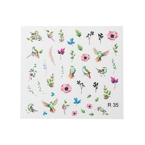 Birds & Flowers R35 3D Sticker | Abstract