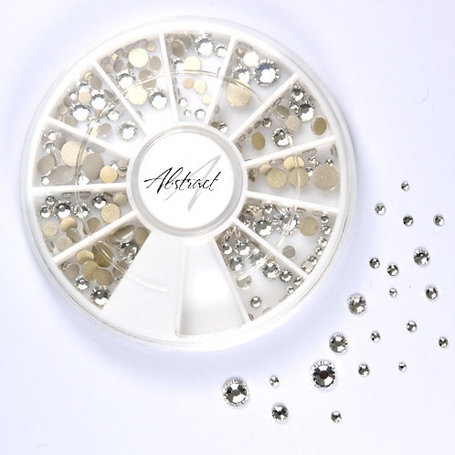 Crystal Mix Rhinestone Wheel | Abstract Nail Art