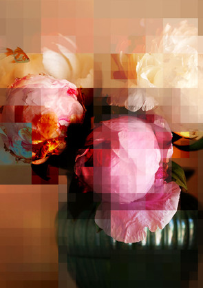 Peonies with x-ray pixel