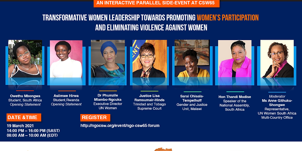 Transformative women leadership towards promoting women's participation and eliminating violence against women