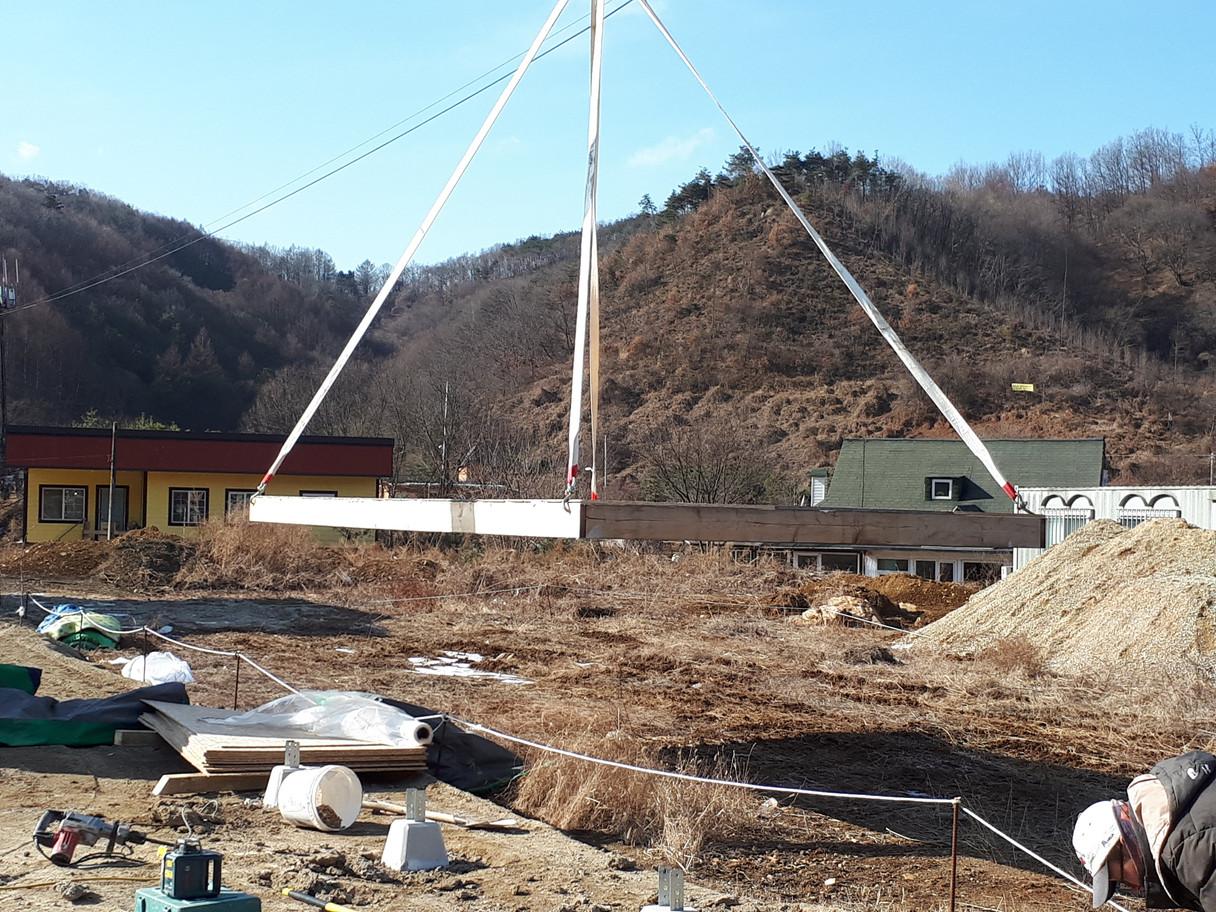 바닥장선설치 - 농막공사의 시작
