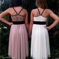 שמלת בת מצווה בלרינה פודרה ולבנה