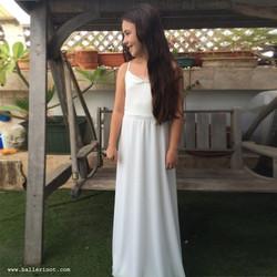 שמלת בת מצווה בלרינה מקסי לבנה
