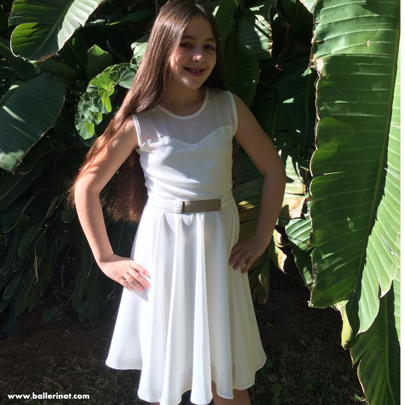 שמלת בת מצווה לבנה לב