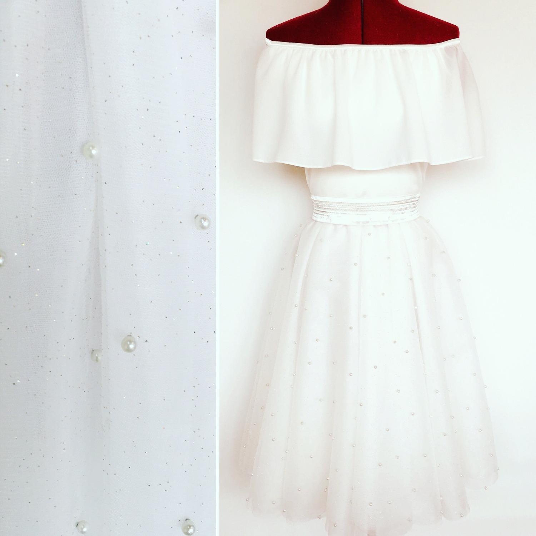 שמלת בת מצווה טוטו לבנה כתפיים