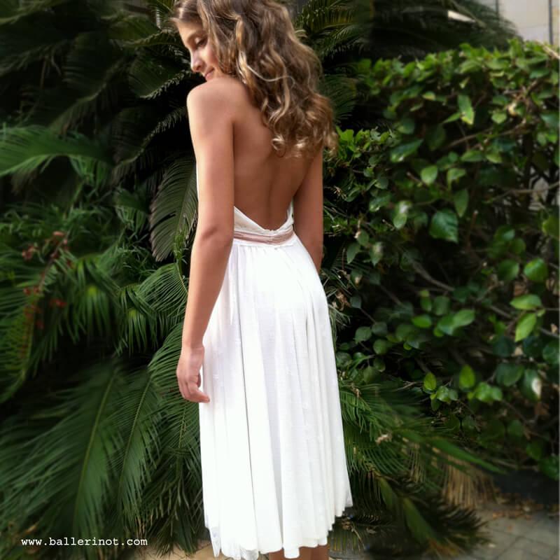שמלת בת מצווה מרלין לבנה פרחים