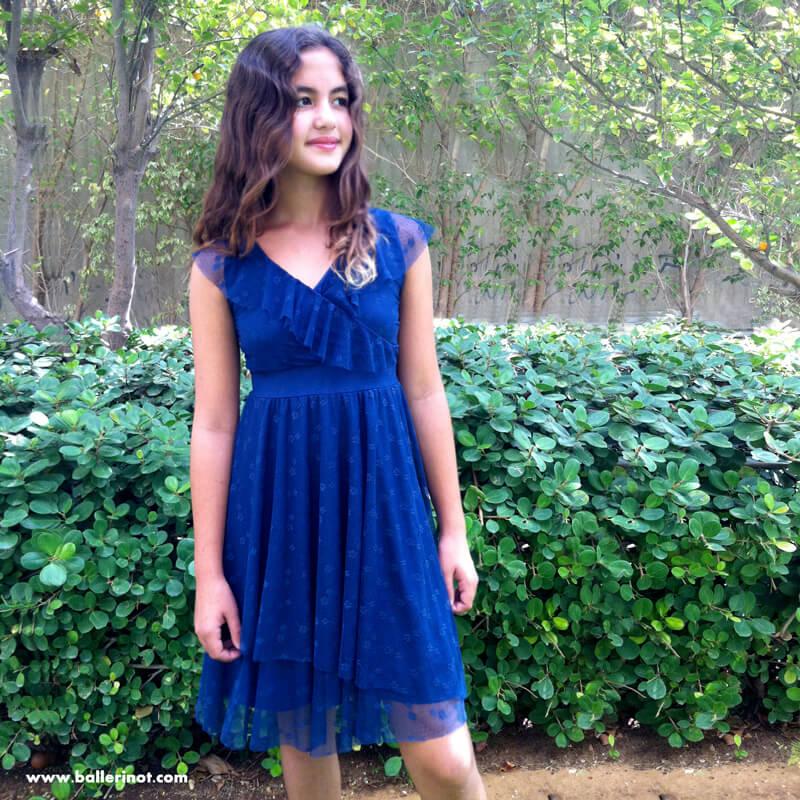 שמלת בת מצווה מעטפה כחולה