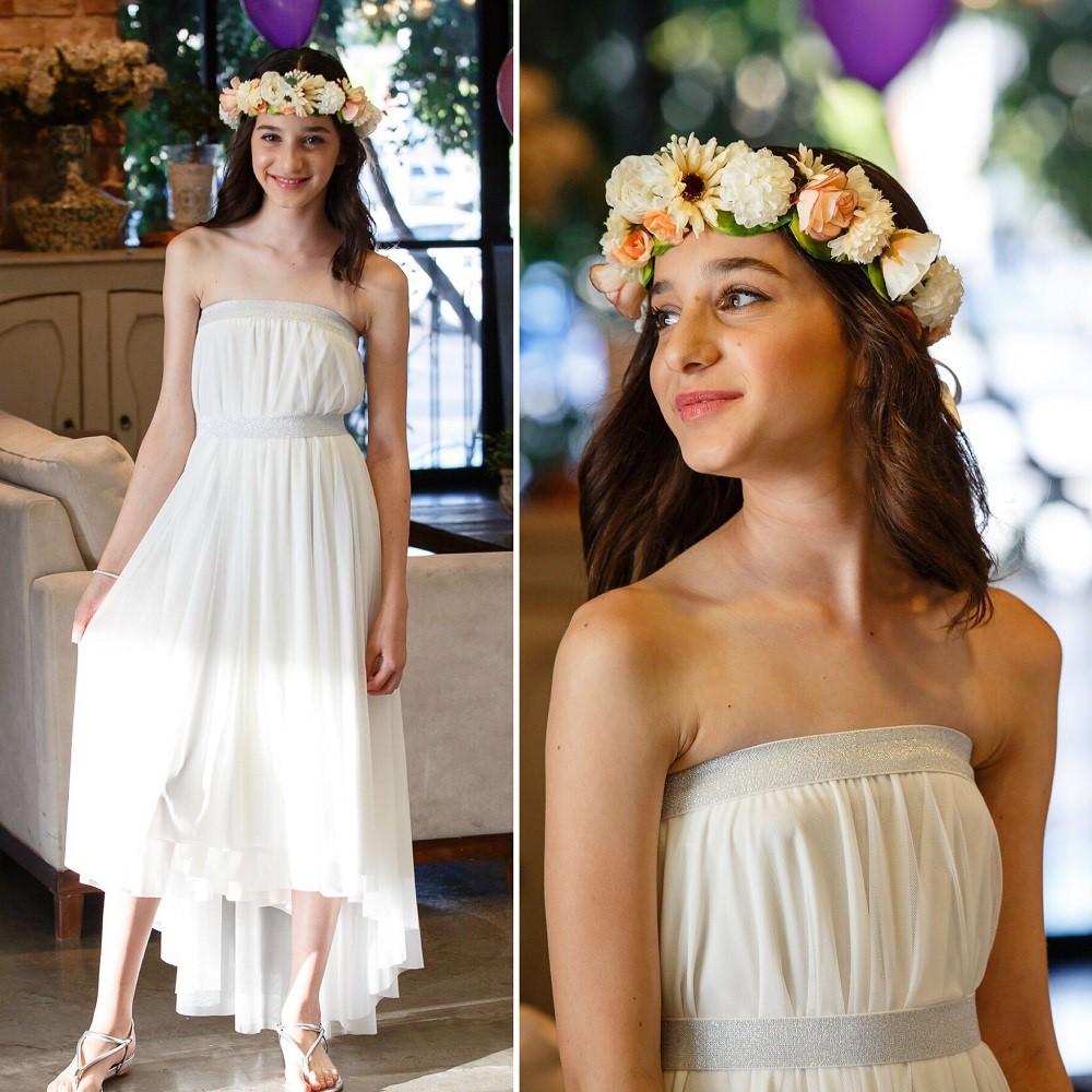 שמלת בת מצווה סטרפלס לבנה