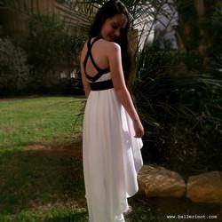 שמלת בת מצווה קולר עם שובל לבנה
