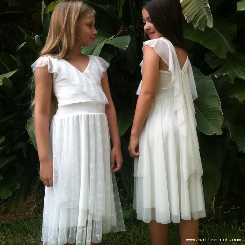 שמלת בת מצווה מעטפה לבנה