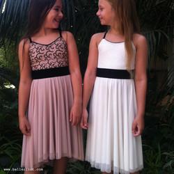 שמלת בת מצווה בלרינה לבנה ופודרה