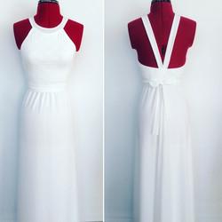 שמלת בת מצווה לבנה ארוכה קולר