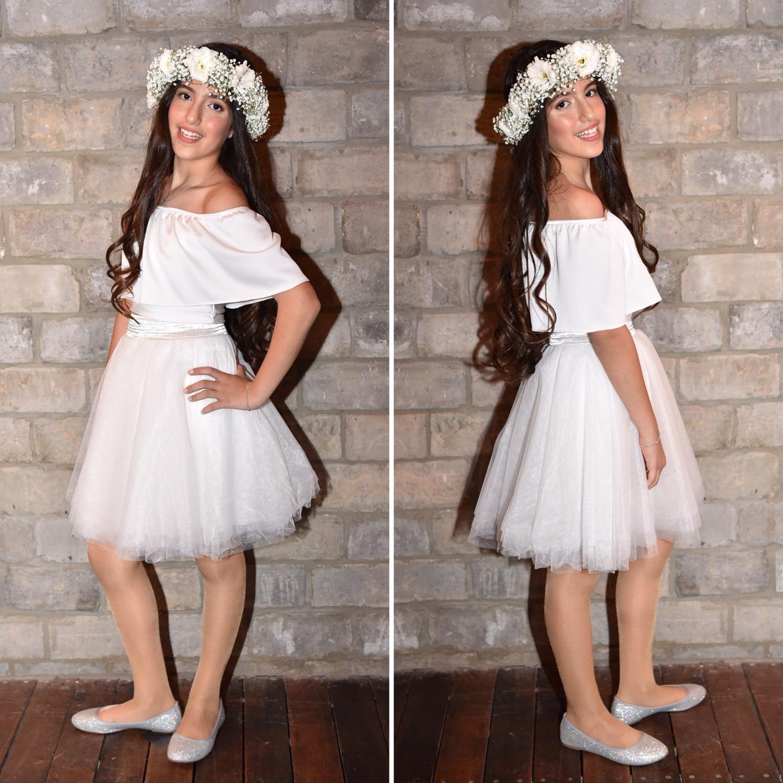 חצאית טוטו לבנה וחולצת כתפיים