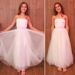 שמלת בת מצווה ארוכה טוטו סטרפלס לבנה