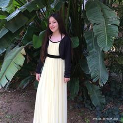 שמלת בת מצווה צהובה ספגטי מקסי