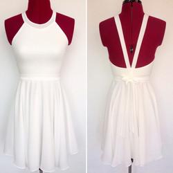 שמלת בת מצווה לבנה קולר קצרה