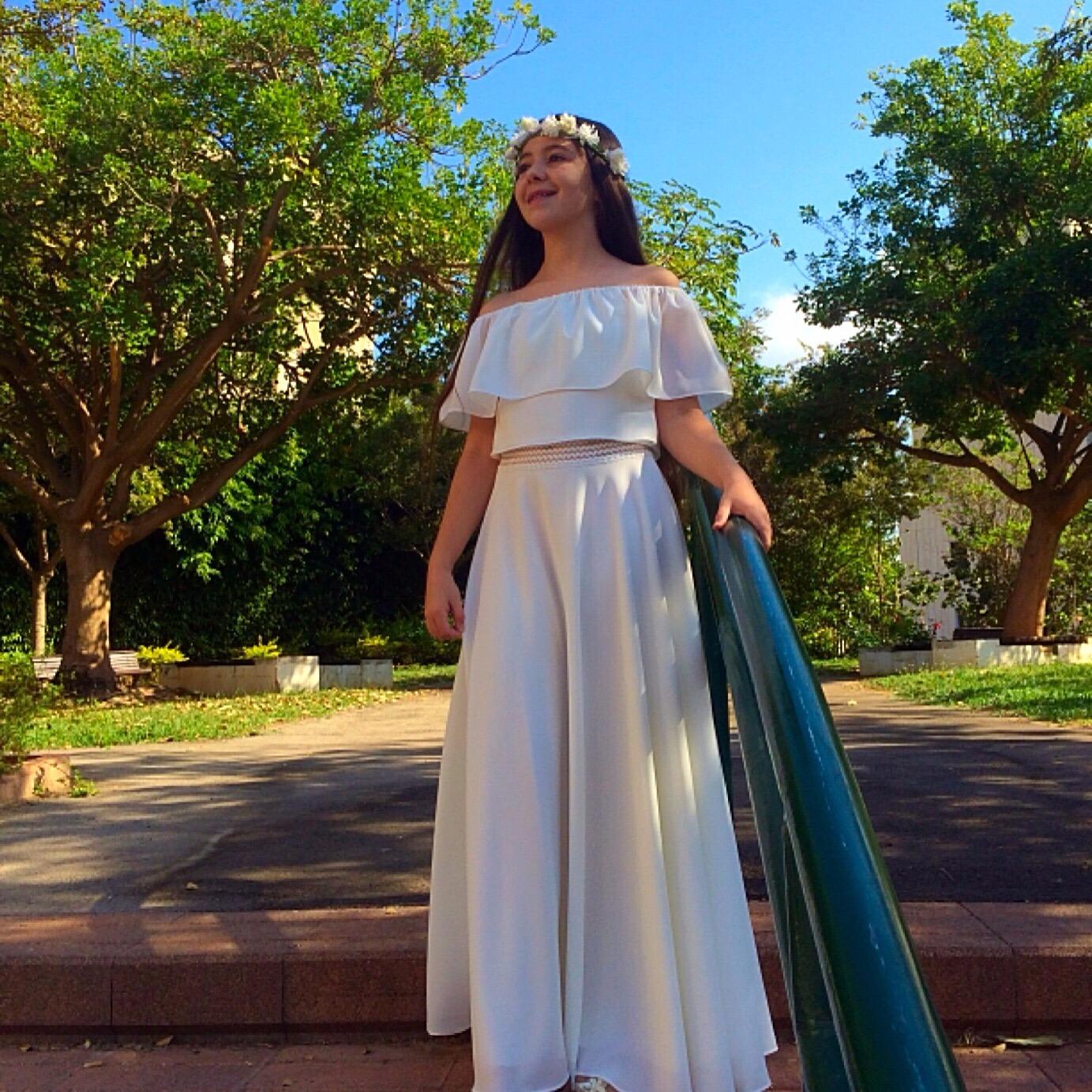 חצאית מקסי לבנה משיפון וחולצה