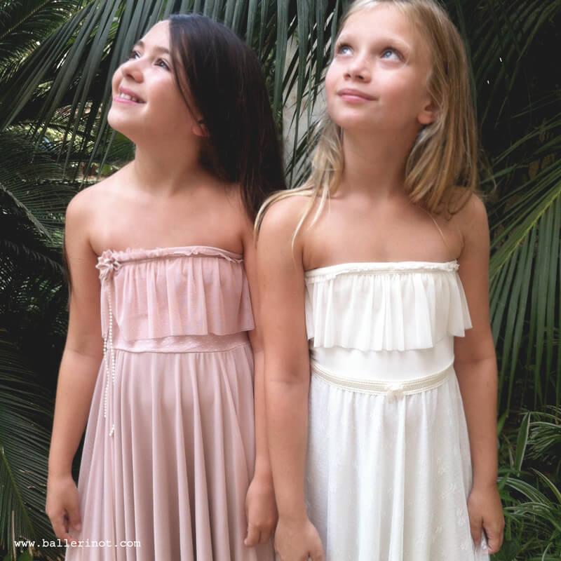 שמלת בת מצווה סטרפלס לבנה ופודרה